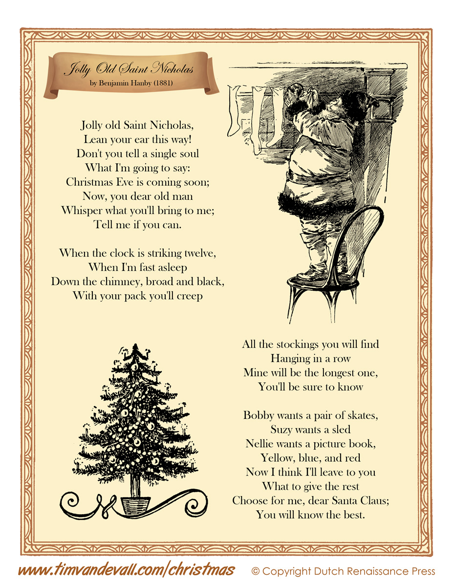 Jolly Old Saint Nicholas Lyrics - Tim\'s Printables