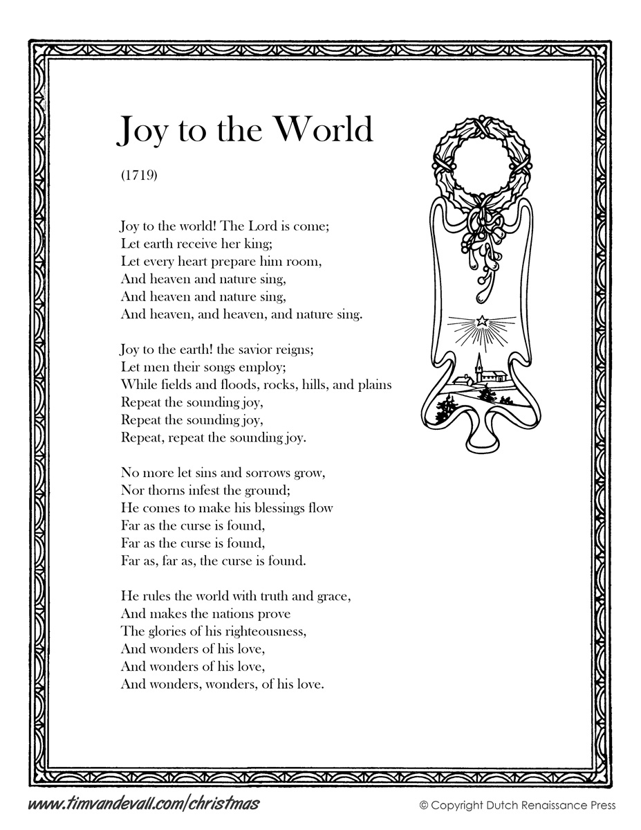 Joy to the World Lyrics - Tim\'s Printables