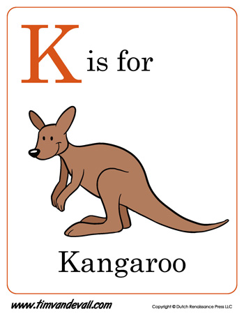 K is for Kangaroo coloring page  Free Printable Coloring