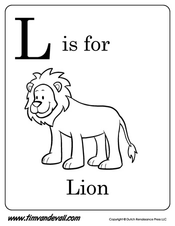L is for Lion | Letter L Coloring Page PDF