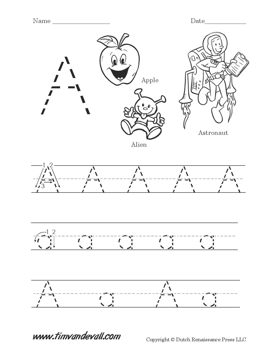 Printable Worksheet For The Letter A | Coloring Page