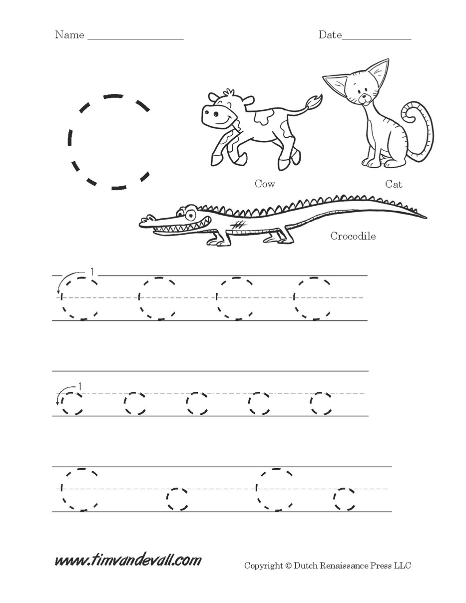 worksheet Letter A Worksheets For Preschoolers letter c worksheet tims printables download printable
