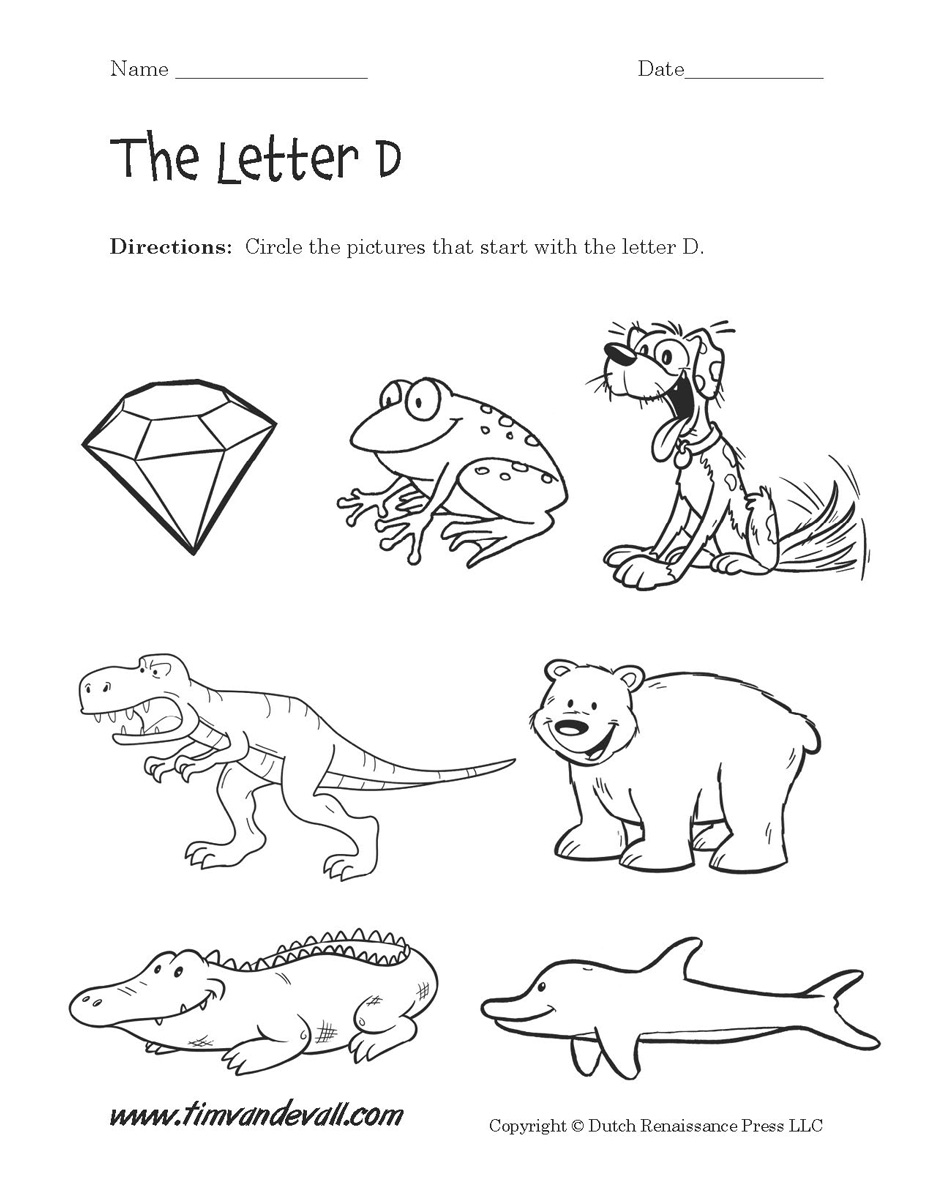 graphic regarding Letter D Printable titled Letter D Worksheets Preschool Alphabet Printables