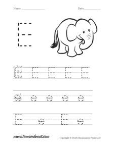 letter e worksheet