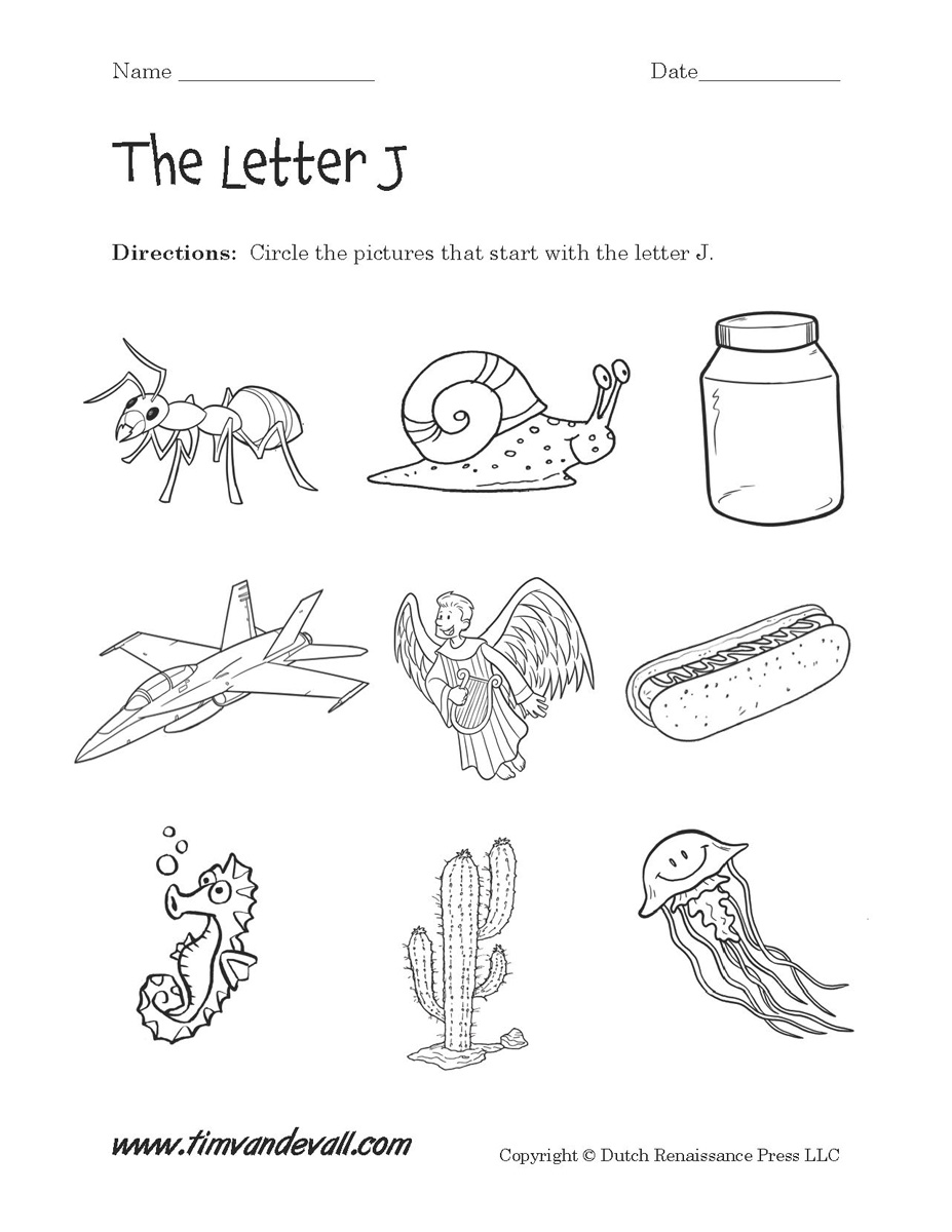 Free Letter J Alphabet Learning Worksheet For Preschool