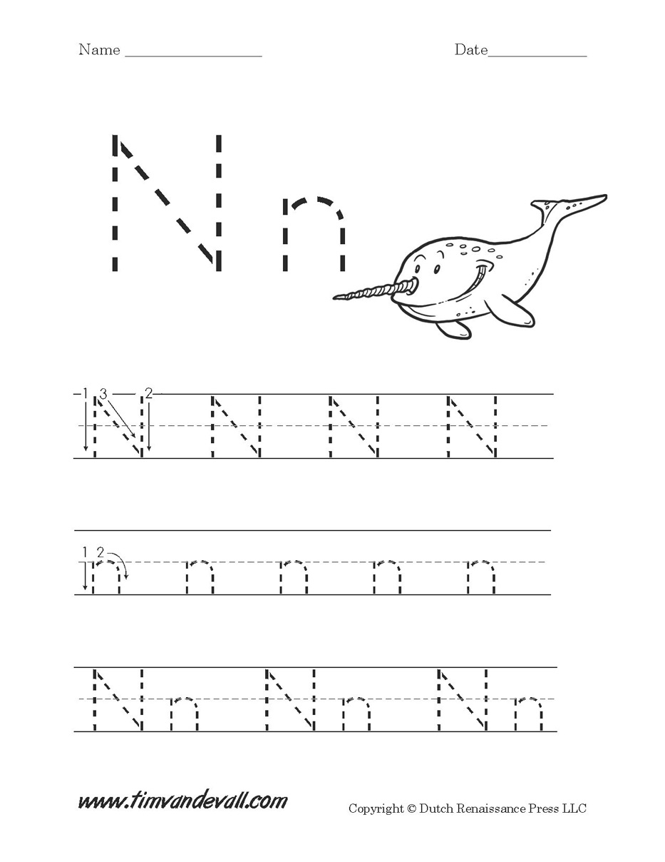 Workbooks letter n worksheets for preschoolers : Letter N Worksheet - Tim's Printables