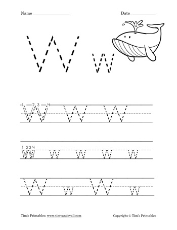 image about Letter W Printable referred to as Letter W Worksheet - Tims Printables