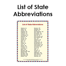 State postal abbreviations table