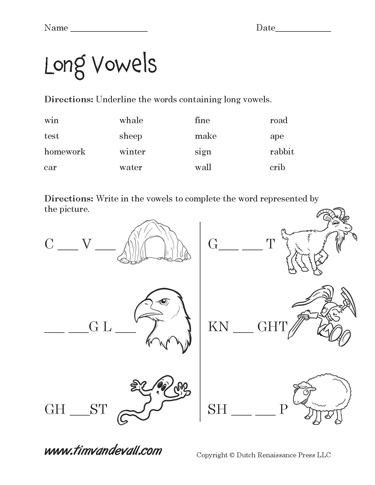 Worksheets Long Vowels Worksheets free long vowel worksheets langugae arts printables worksheets