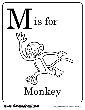 M Is For Monkey Letter Coloring Page
