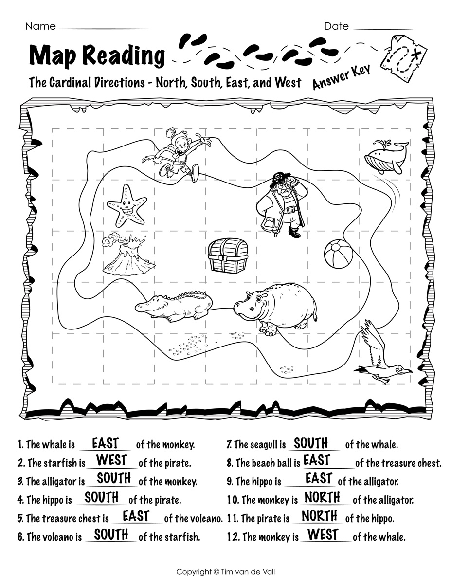 Map Reading Worksheets 02 Answer Key Tims Printables