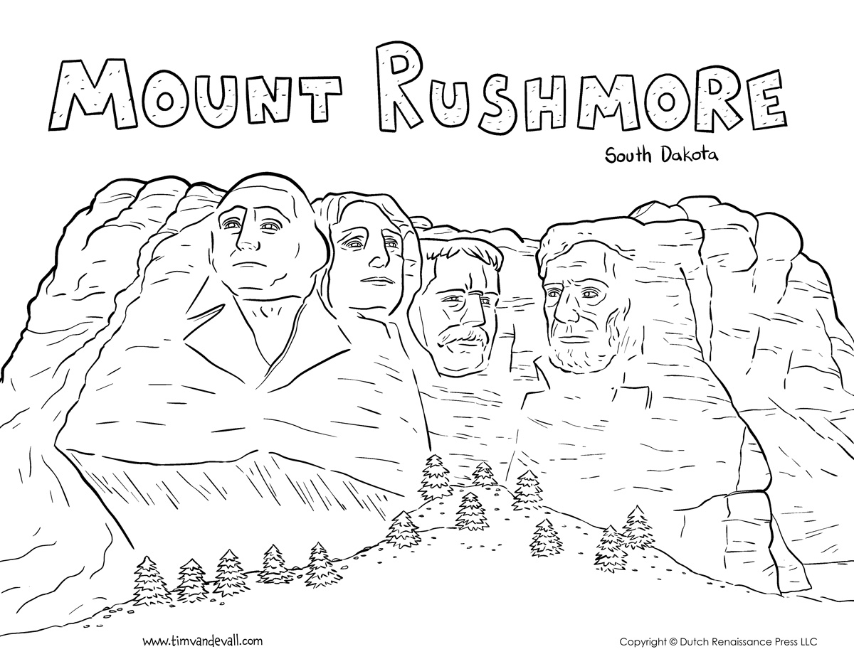 Mount Rushmore Coloring Page on Kindergarten Journal Worksheets