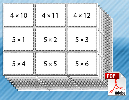 Adaptable image in multiplication flash cards printable 0-12