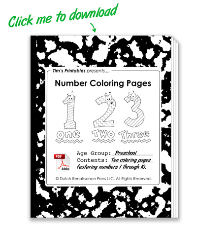 Printable Number Coloring Pages | Free Preschool Coloring Pages