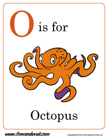 O Is For Octopus Letter O on Space Worksheets