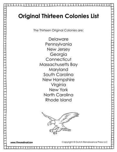 list of the thirteen original colonies