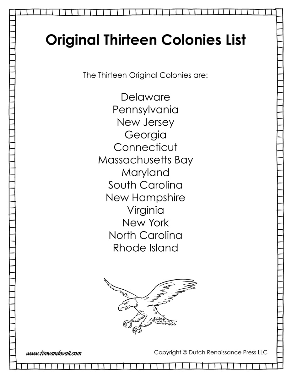 Workbooks thirteen colonies worksheets : Original Thirteen Colonies List - Tim's Printables