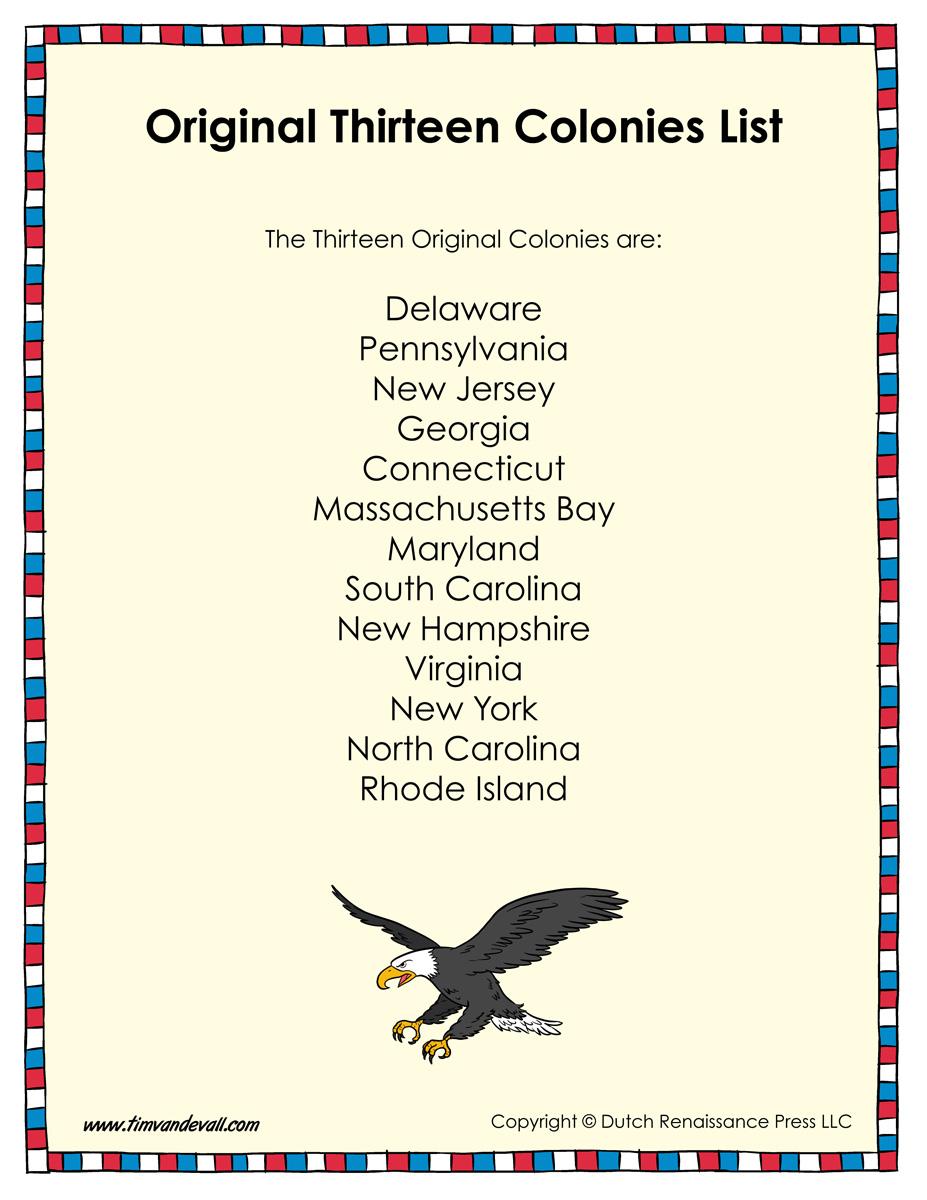 Original Thirteen Colonies List Tim S Printables