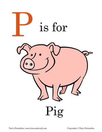 photograph regarding Pig Printable known as P is for Pig Printable - Tims Printables
