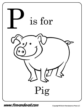 P is for Pig Printable Tim 39 s