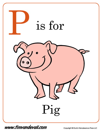 P Is For Pig Letter
