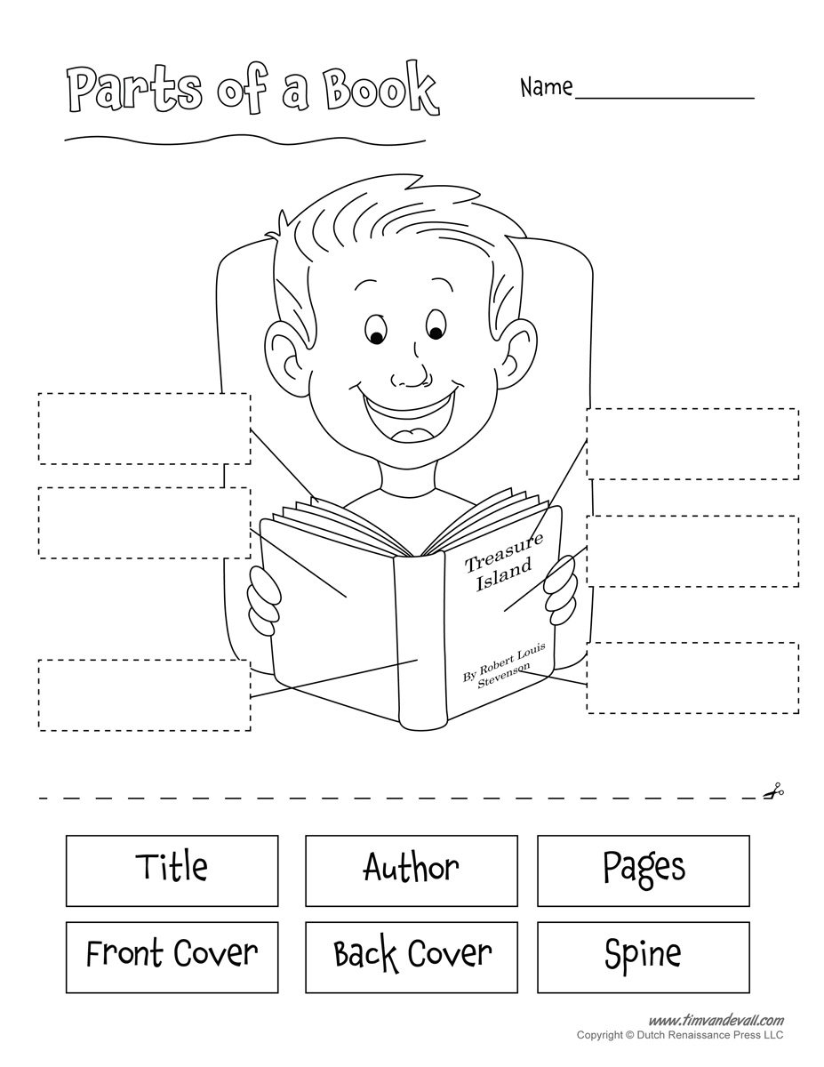 Book Cover Template Worksheet : Parts of a book tim s printables