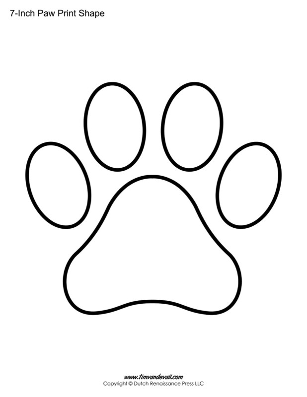 graphic relating to Free Printable Paw Prints identified as Paw Print Templates / Paw Print Form Printables - Tims