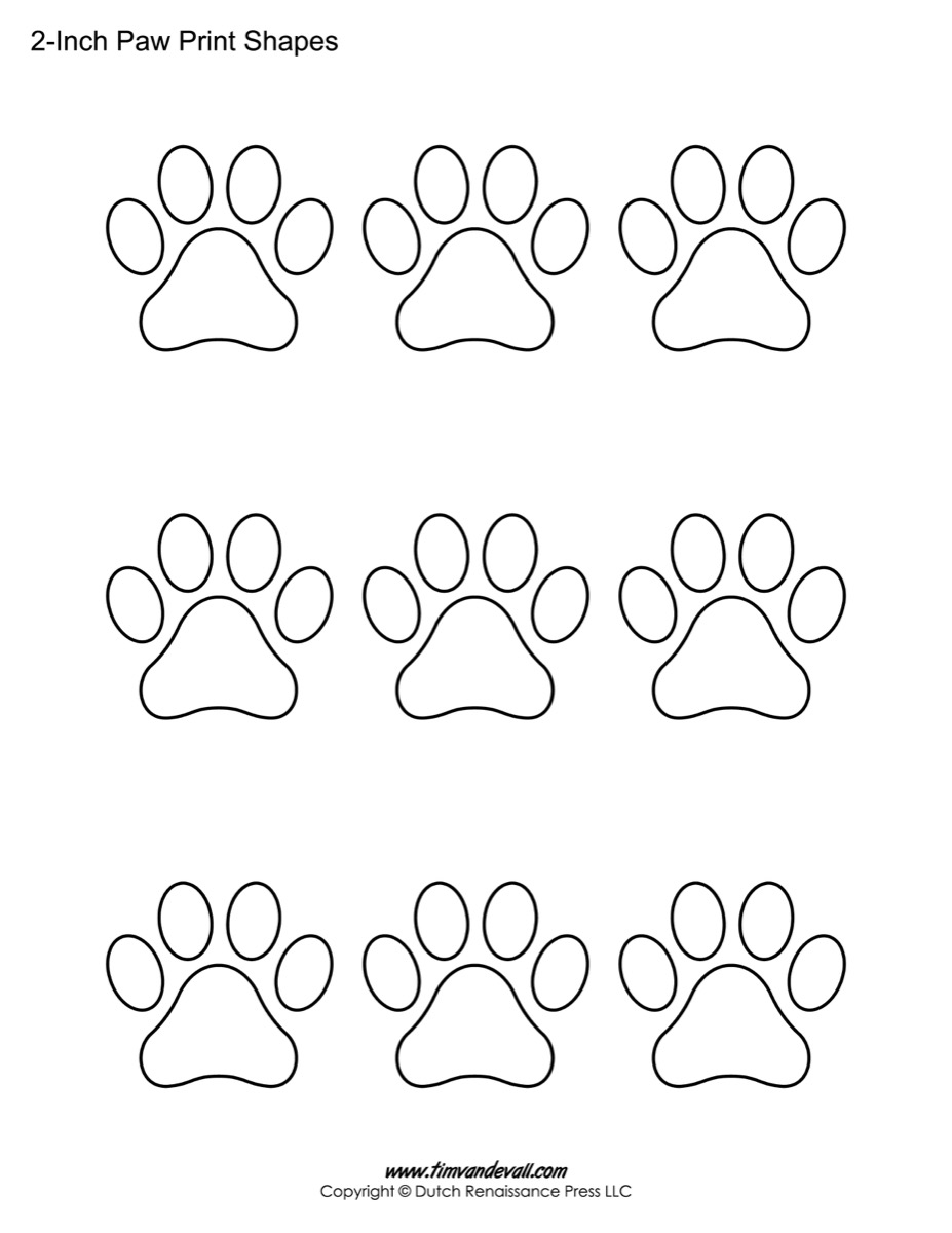 paw print template shapes blank printable shapes paw print shapes for kids