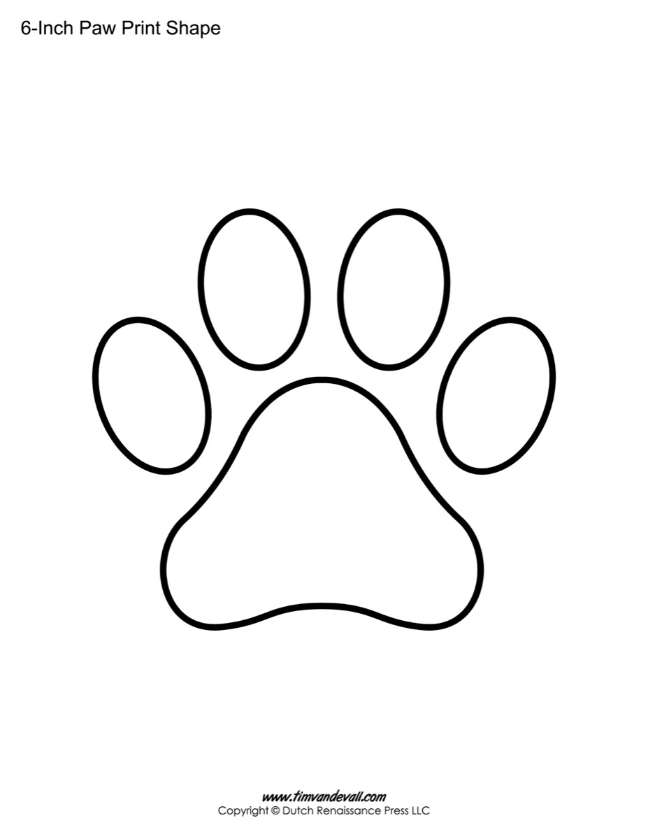 image relating to Printable Animal Stencils called Paw Print Template Designs Blank Printable Styles