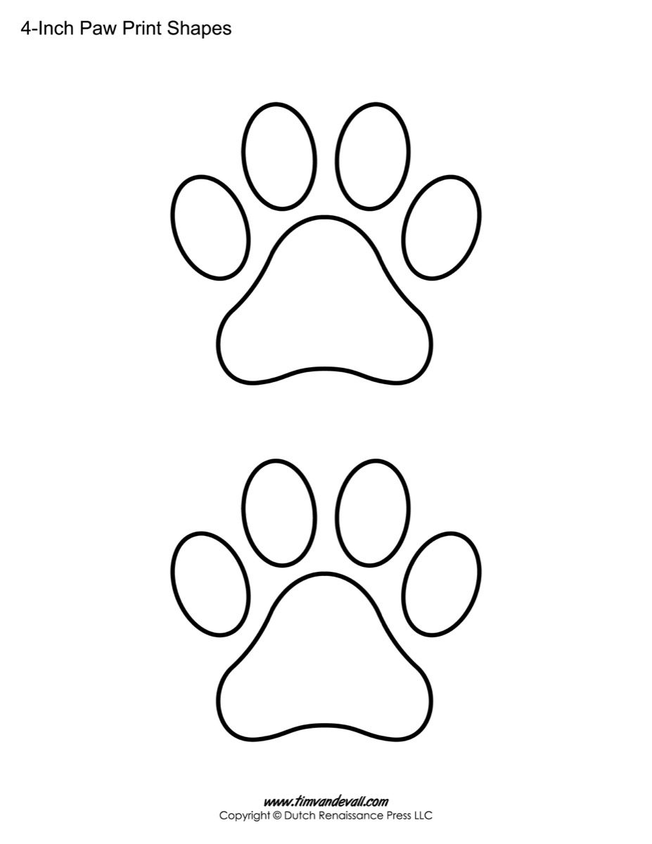 paw print template shapes blank printable shapes paw print printable sheet
