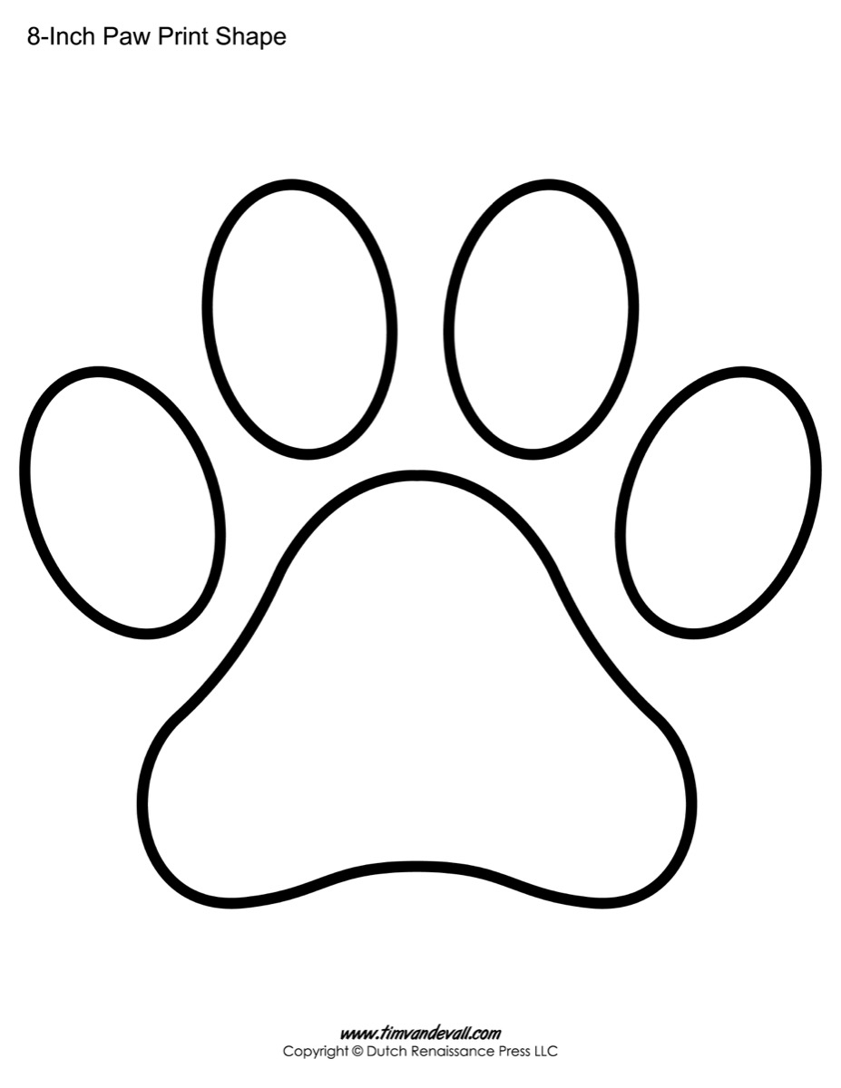 paw print template shapes blank printable shapes paw print templates paw print shape printables