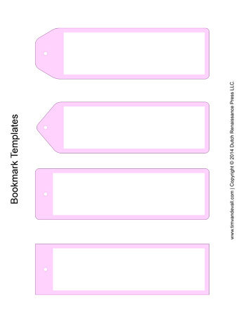 Bookmark Templates  Pink  TimS Printables