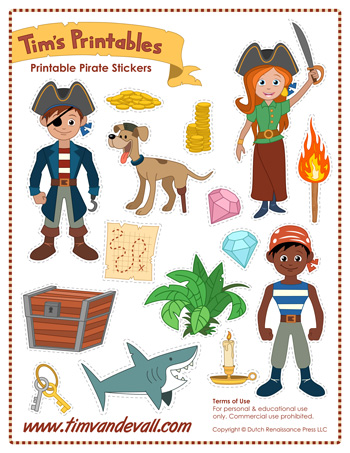 photo regarding Pirates Printable named Printable Pirate Stickers - Tims Printables