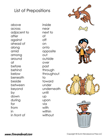 List of Prepositions Tim 39 s Printables