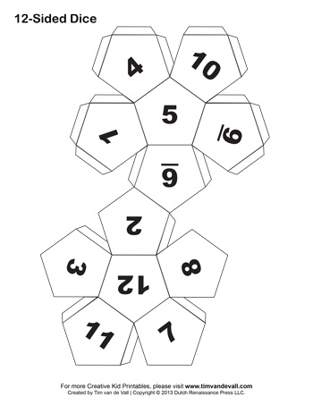 30 sided dice template