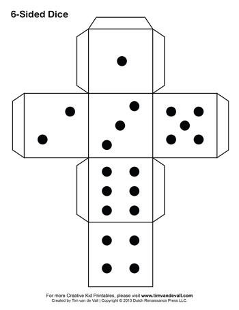 9 sided dice template with dots drawing