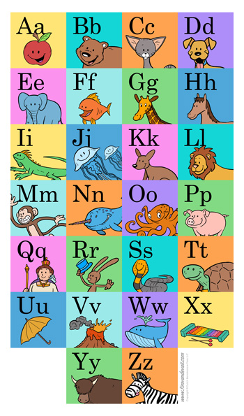 Printable Alphabet Poster for Preschool & Elementary School
