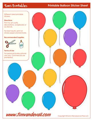 Printable Balloon Stickers / Balloon Templates