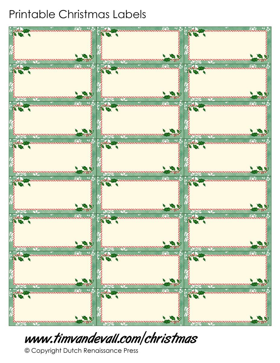 Printable Christmas Labels - Green - Tim\'s Printables