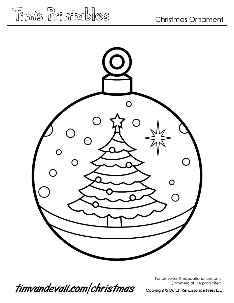 Printable Paper Christmas Ornament Templates Coloring Pages Ornaments Printable