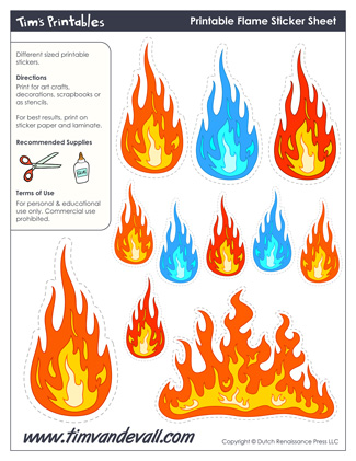graphic regarding Printable Flame referred to as Printable Flame Stickers - Tims Printables