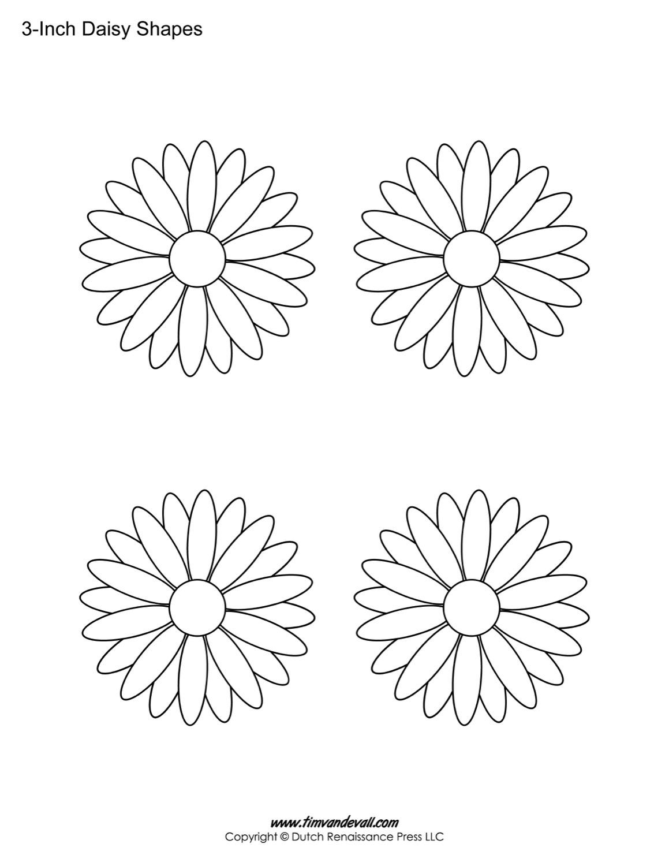 printable daisy templates daisy shape flower pdfs printable daisy stencils