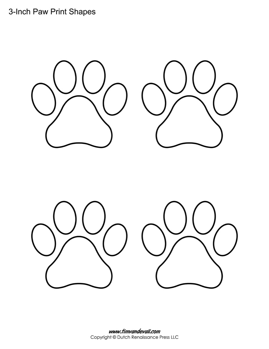 Paw print template shapes blank printable shapes for Footprint cut out template