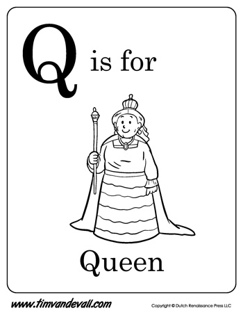 Q Is For Queen Coloring Page Q is for Queen | Lette...