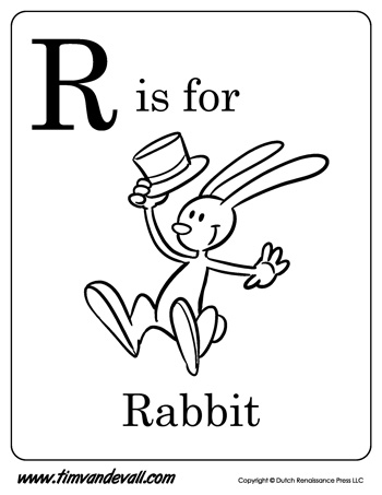 r is for rabbit letter r coloring page