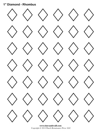 picture relating to Diamond Template Printable identified as Diamond Templates - 1 inch - Tims Printables