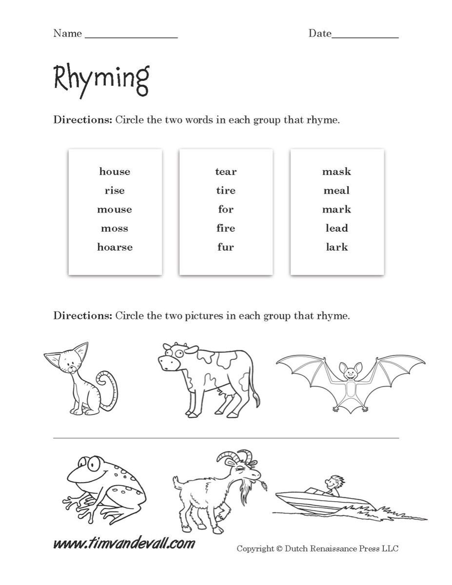 Worksheets Rhyming Worksheet rhyming worksheet 01 tims printables 01