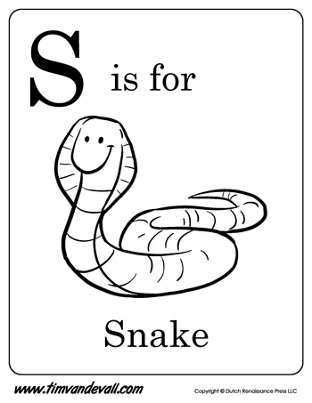 s is for snake letter s coloring page - S Coloring Page