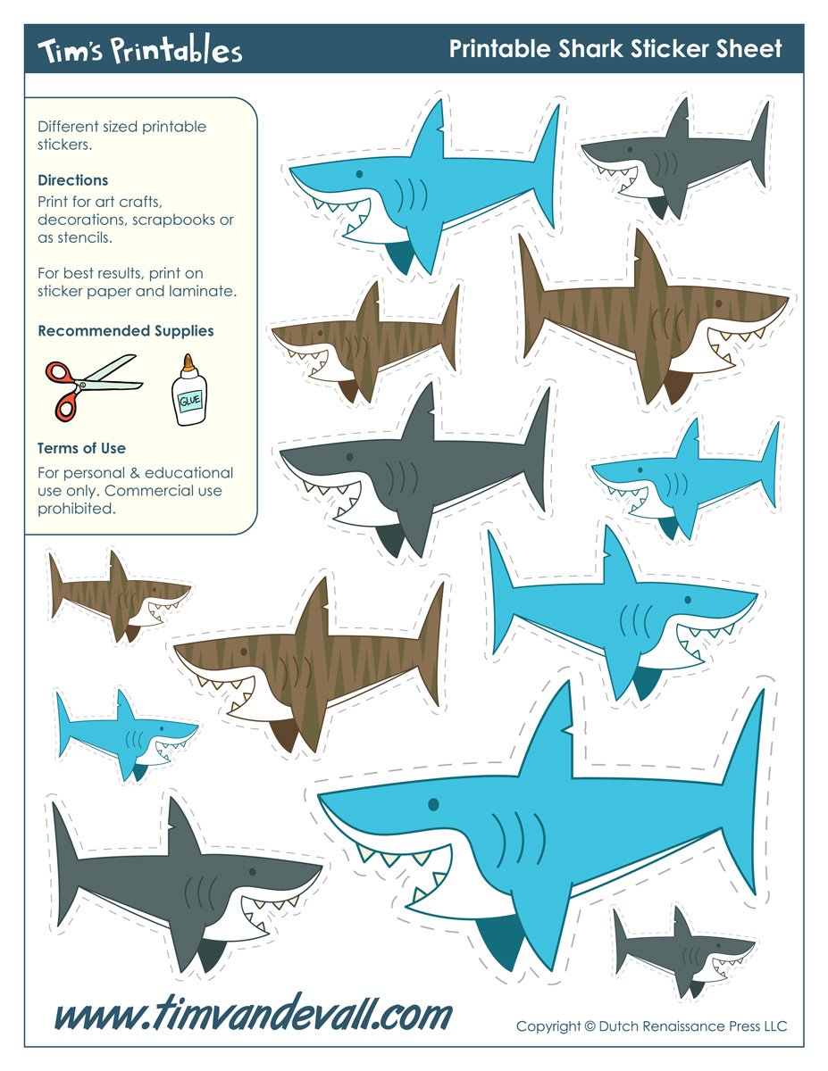 graphic regarding Printable Shark Template named Printable Shark Stickers - Tims Printables