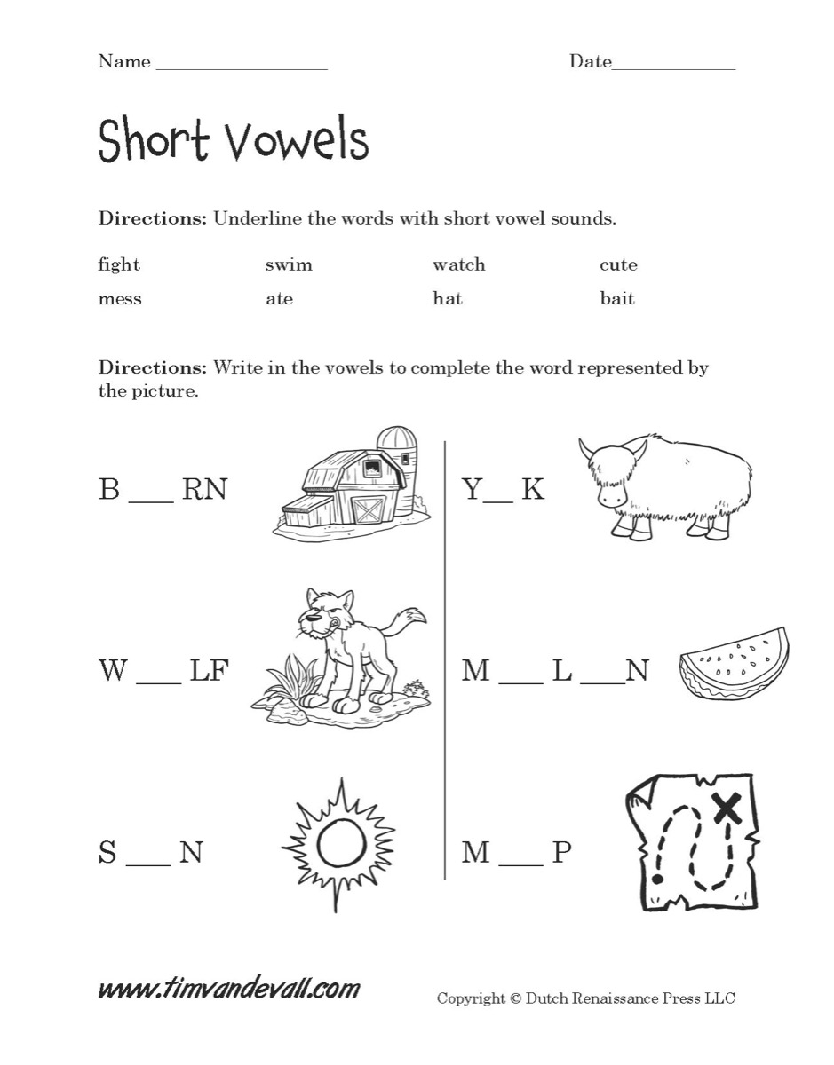 worksheet Short Vowel Sound Worksheets short vowels worksheet 01 tims printables a for language arts class